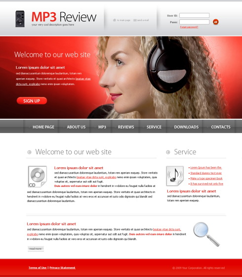 Website Templates Music 6034