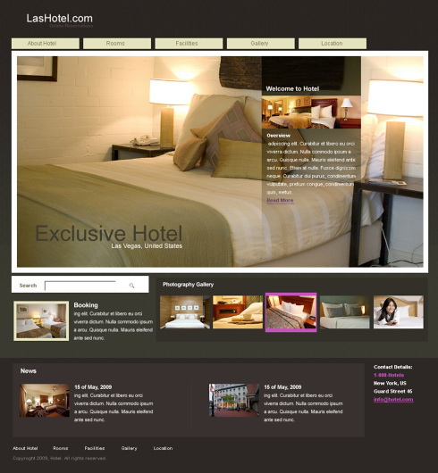 Pagini web site hotel