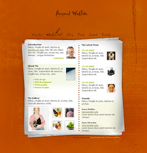 Templates Web Personal Pages 0188