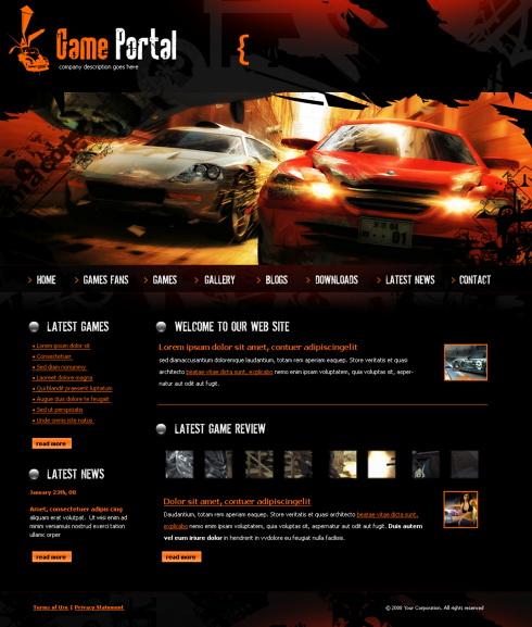 Game Html Templates Game Portal HTML Template - 4251 - Cars & Transportation ...