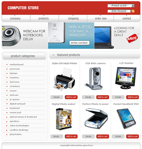 0442 shopping website templates dreamtemplate for Free html product page template