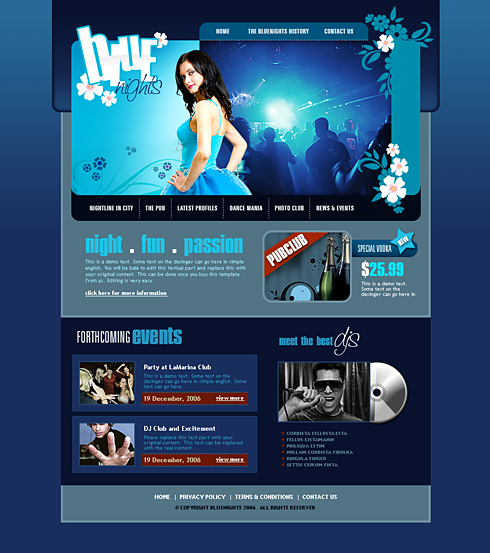 web design download club de noapte, discoteca
