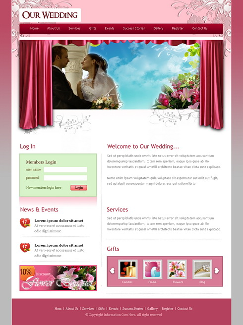 Website Templates  Wedding  6716