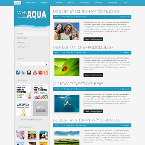 aqua html template web blog personal css templates dreamtemplate. Black Bedroom Furniture Sets. Home Design Ideas