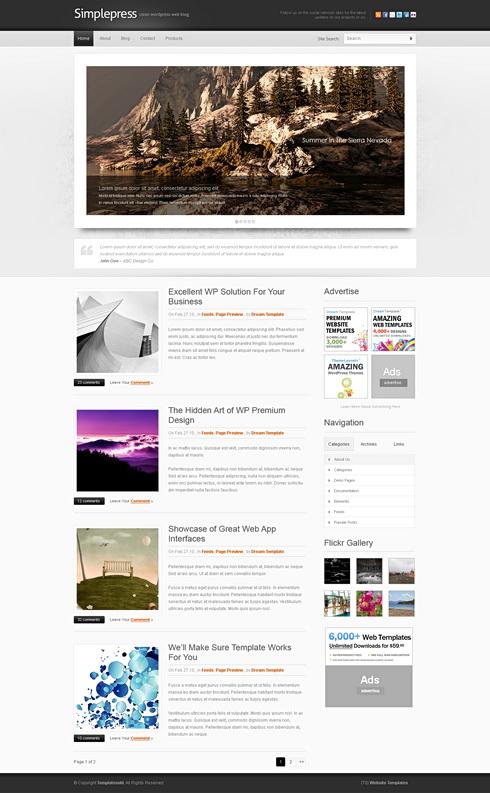 simplepress website template web blog corporate css templates dreamtemplate. Black Bedroom Furniture Sets. Home Design Ideas