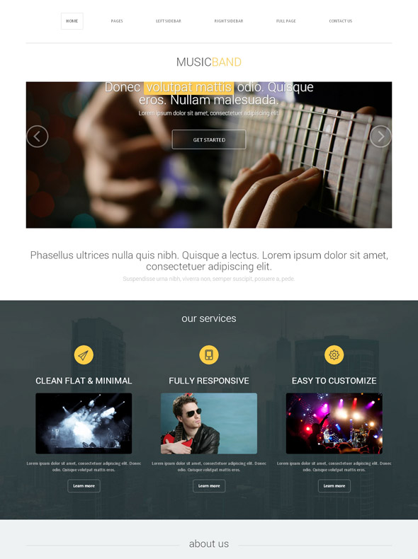 musical band web template music band website templates dreamtemplate. Black Bedroom Furniture Sets. Home Design Ideas