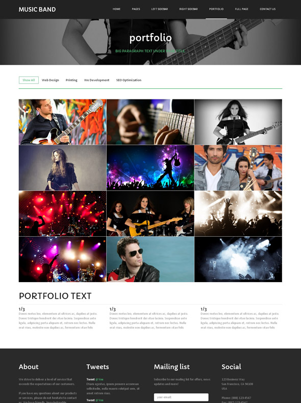 musical box website template music band website templates dreamtemplate. Black Bedroom Furniture Sets. Home Design Ideas
