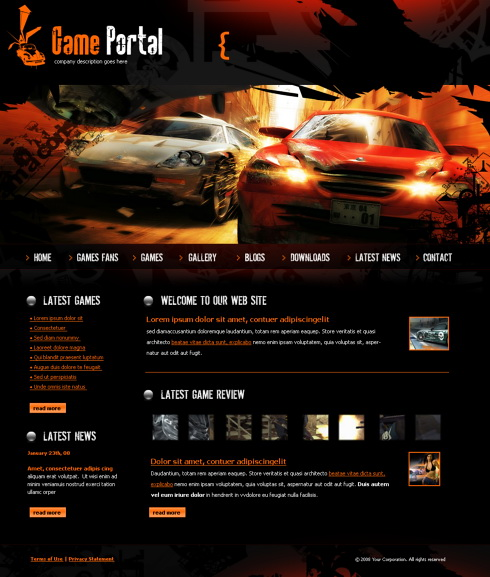 Game Html Templates Game Portal HTML Template - 4251 - Cars & Transportation - Website Templates - DreamTemplate