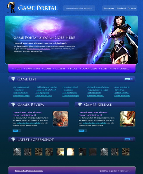 game maker templates download - game portal web template 4252 games fun website