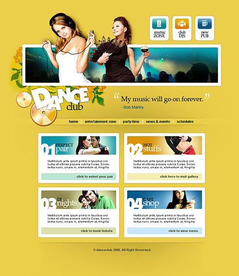 party forum web template 2420 entertainment media website templates dreamtemplate. Black Bedroom Furniture Sets. Home Design Ideas