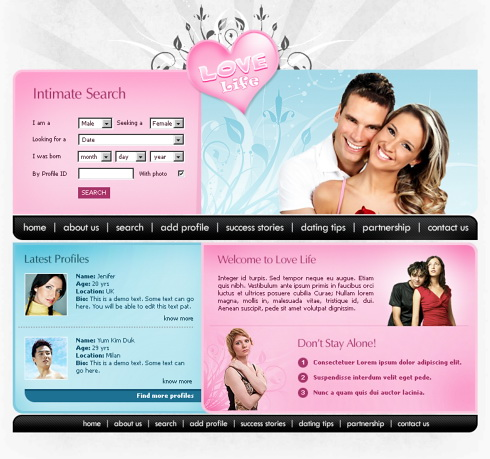 Love meter xhtml template 5668 love dating website for Dating site about me template