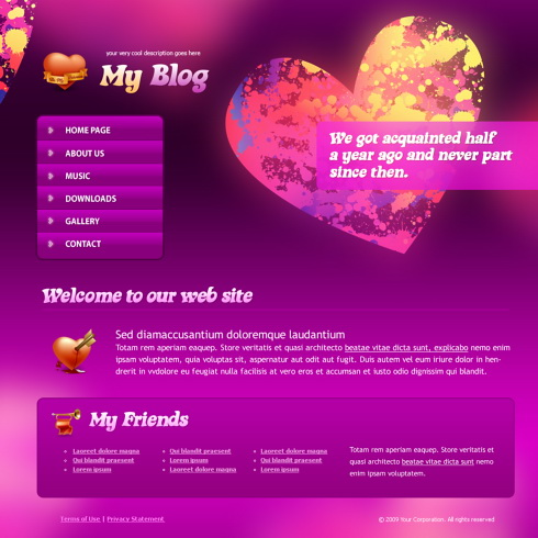 html css dating template
